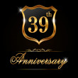 39 year anniversary golden label — Stockvektor  #65988943
