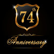 74 year anniversary golden label — Vetor de Stock  #65988979