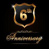 6 year anniversary golden label — Stock Vector