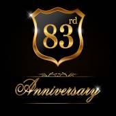 83 year anniversary golden label — Stock Vector