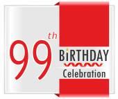 99 year birthday celebration card — Stock Vector