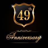 49 year anniversary golden label — Stock Vector