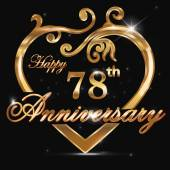 78 year anniversary golden heart — Stock Vector