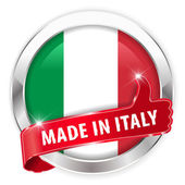 Made in italy silver badge thumbs up button — Stock Vector