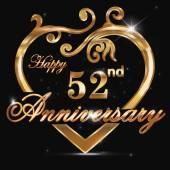 52 year anniversary golden heart — Stock Vector