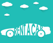 Rent a car, flat color with clouds — Stock Vector