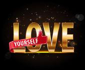 Love yourself golden typography — Stock Vector
