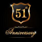 51 year anniversary golden label — Stock Vector