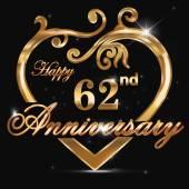 62 year anniversary golden heart — Stock Vector