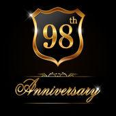 98 year anniversary golden label — Stock Vector