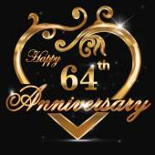 64 year anniversary golden heart — Stock Vector