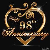 98 year anniversary golden heart — Stock Vector