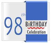 98 year birthday celebration card — Stock Vector