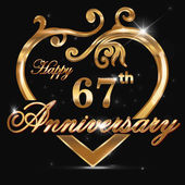 67 year anniversary golden heart — Stock Vector