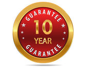10 year guarantee sign — Stock Vector