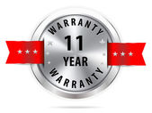 Silver 11 year warranty button — Stock Vector
