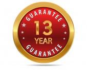 13 year guarantee sign — Stock Vector