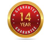 14 year guarantee sign — Stock Vector