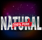 100 natural and pure silver label — Stock Vector