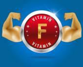 Vitamin F etikett silver badge — Stockvektor