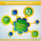 Paper Info graphic football elements in brazil colors.  — Stockvector