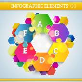 Infographic hexagonal colorful paper elements on abstract colorf — Stockvector