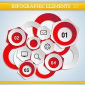Geometric paper infographic scheme with steps elements. — Stok Vektör