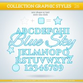 Blue Sky Graphic Styles — Stock Vector
