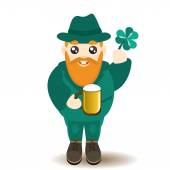 St Patrick's Day man character with beer and lucky shamrock — Stock Vector