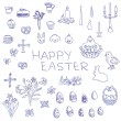 Big set of liner pen hand-drawn sketchy outline Easter objects — Stock Vector #69481323