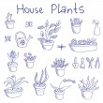Big set of liner pen hand-drawn doodle outline houseplants and garden tools — Stock Vector #69481355