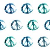 Vector hand-drawn watercolor blue and green peace signs seamless pattern — Stock Vector