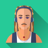 Music lover with dreadlocks in headphones, square flat icon — Stock Vector