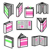 Big set of stylish black outline books in different postures with colorful pink and green elements — Stock Vector