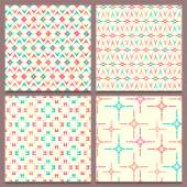 Set of four geometric seamless patterns with multicolored elemen — Stock Vector