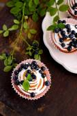 Homemade cupcakes with icing and blueberries — Zdjęcie stockowe