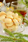 Cookies on New Years table in a glass cup — Stock Photo