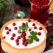 Постер, плакат: White chocolate cheesecake tart with cranberries