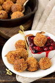 Meatballs with cranberry sauce — Stock Photo