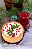 Tarte cheesecake au chocolat blanc aux canneberges — Photo
