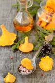 Pickled chanterelle mushrooms — Stock Photo