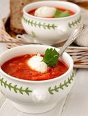 Tomato soup with croutons — Stock Photo