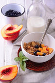 Granola and oat mash with fresh blueberries, nectarines — Stock Photo