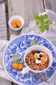 Bowl of muesli and yogurt with fresh berries — Stock Photo