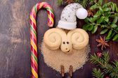 Christmas cookies in the form of lamb — Stock Photo