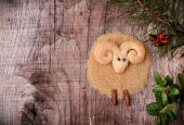 Christmas cookies in the shape of a lamb — Stock Photo