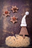 Chocolate homemade Christmas cookies in the shape of stars with sesame seeds — Stock Photo