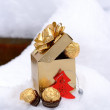 Golden gift box with candies in this snow winter forest — Stock Photo #61386431
