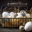 Basket of freshly laid eggs lying on straw in the barn — Stock Photo #64301055