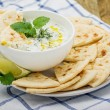 Sauce with yogurt and cucumber for starter — Stock Photo #69543173